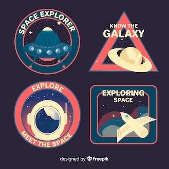 Colección retro de pegatinas espaciales