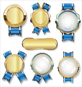 Colección retro vintage de insignias y etiquetas doradas y azules