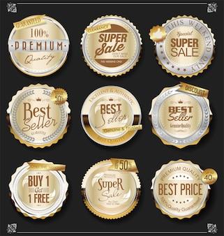 Colección retro vintage de insignias y etiquetas de plata y oro