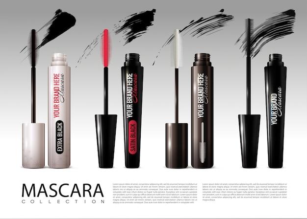 Colección de rímel cosmético realista