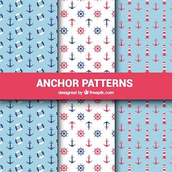 Colección roja y azul de patrones de anclas