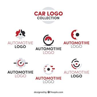 Colección roja y blanca de logotipos de coche