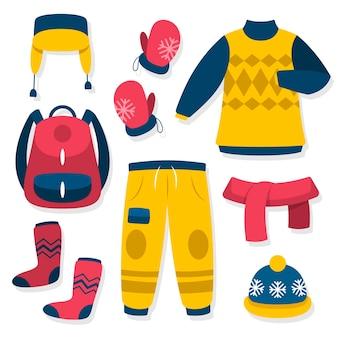Colección de ropa y básicos de invierno dibujados a mano