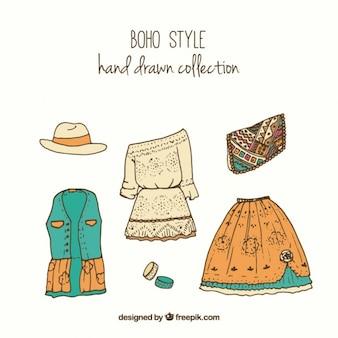 Colección de ropa boho dibujada a mano