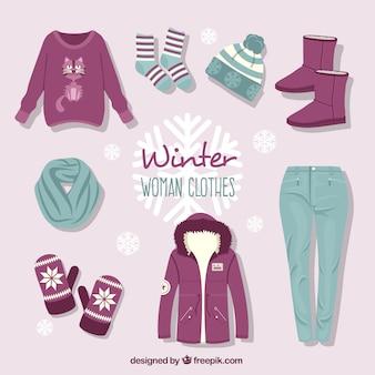 Colección de ropa de invierno dibujada a mano con accesorios