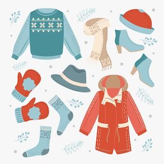 Colección de ropa de invierno dibujada