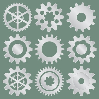 Colección de ruedas dentadas de metal