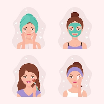 Colección de rutina para el cuidado de la piel de las mujeres