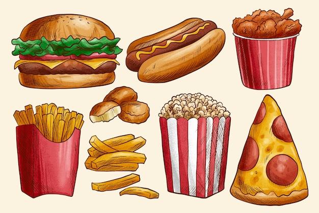 Colección sabrosa comida rápida