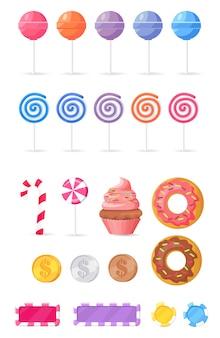 Colección de sabrosos dulces aislados ilustraciones