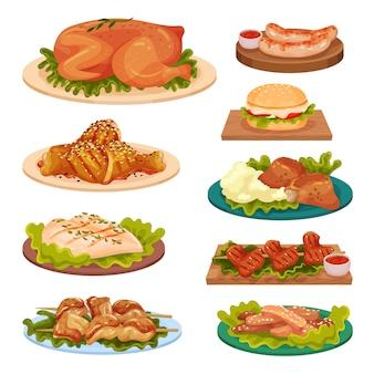 Colección de sabrosos platos de pollo, carne de pollo frito, salchichas, hamburguesas servidas en platos ilustración sobre un fondo blanco.