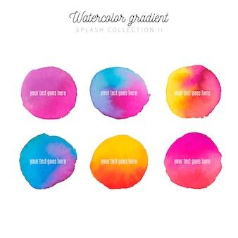 Colección de salpicaduras de acuarela con degradados de colores