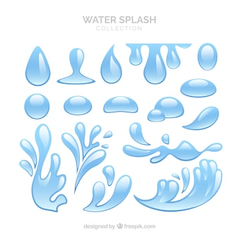 Colección de salpicaduras de agua en estilo plano