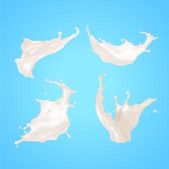 Colección de salpicaduras blancas realistas