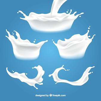 Colección de salpicaduras de leche fresca en estilo realista