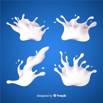 Colección salpicaduras de leche realistas