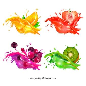 Colección de salpicaduras de zumo delicioso en estilo realista