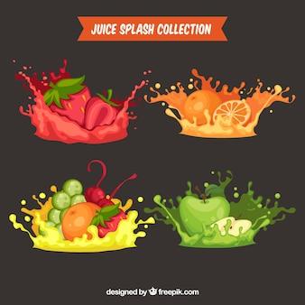 Colección de salpicaduras de zumo delicioso con frutas