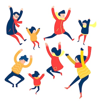 Colección de saltos de grupo de personas