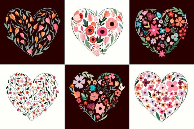 Colección de san valentín con diferentes corazones florales.