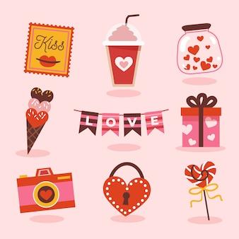 Colección de san valentín con dulces y regalos.