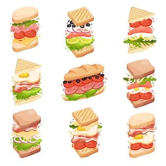 Colección de sandwiches. diferentes formas y composición. ilustración.