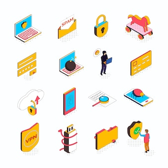 Colección de seguridad cibernética isométrica de dieciséis iconos aislados con pictogramas conceptuales de computadoras, dispositivos inteligentes y personas