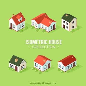 Colección de seis casas en estilo isométrico