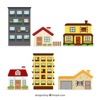 Colección de seis casas flat