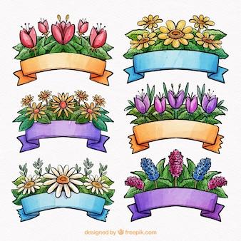 Colección de seis cintas de acuarela de primavera