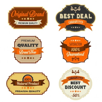 Colección de seis etiquetas vintage
