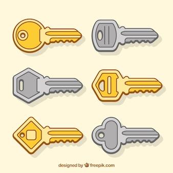Colección de seis llaves doradas y plateadas