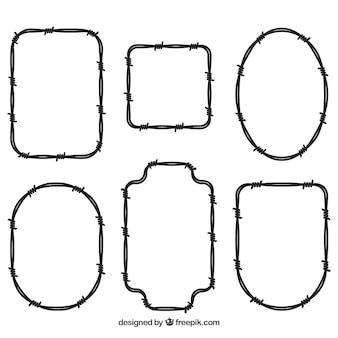 Colección de seis marcos de alambre de espina