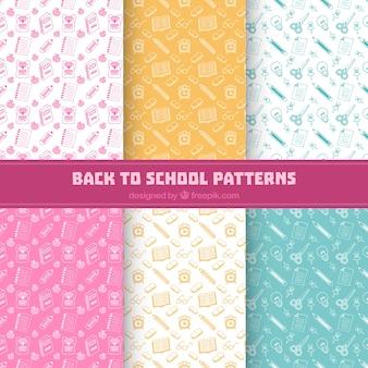Colección de seis patrones de vuelta al cole