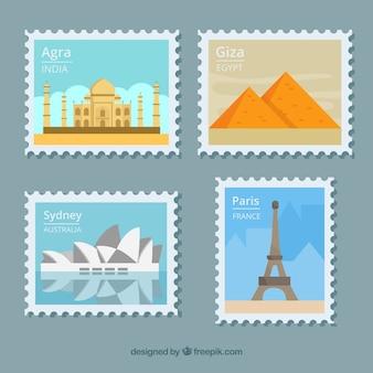 Colección de sellos de ciudad en estilo plano