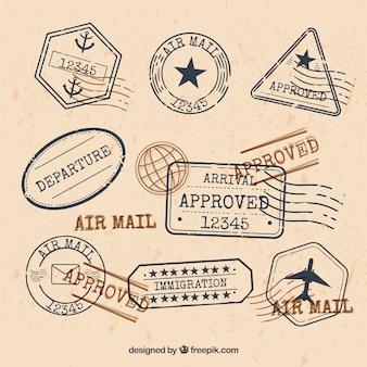 Colección de sellos de ciudad en estilo retro