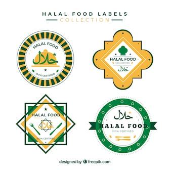 Colección de sellos de comida halal con diseño plano
