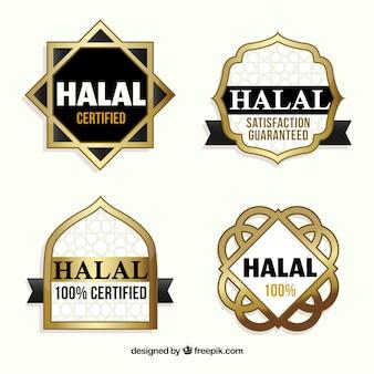 Colección de sellos de comida halal con estilo dorado