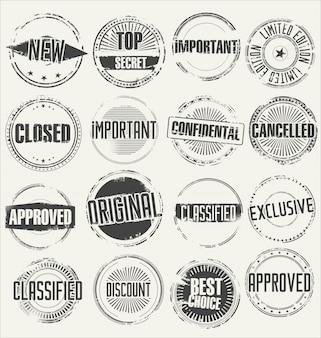 Colección de sellos de goma del grunge