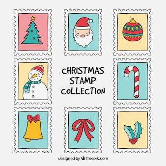 Colección de sellos de navidad dibujada a mano