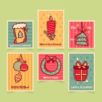 Colección de sellos navideños dibujados a mano