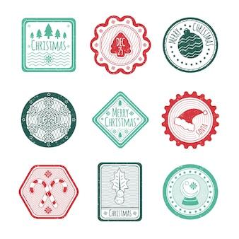 Colección de sellos navideños de diseño plano