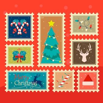 Colección de sellos navideños en diseño plano