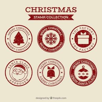 Colección de sellos navideños rojos