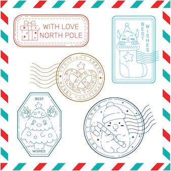 Colección de sellos navideños vintage