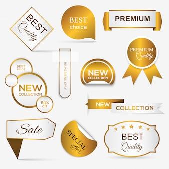Colección de sellos / pegatinas promocionales premium dorados.