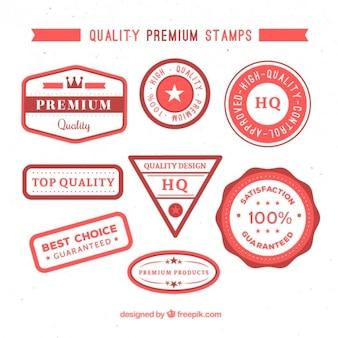 Colección de sellos planos de calidad suprema con detalles rojos