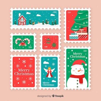 Colección sellos planos navidad