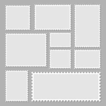 Colección de sellos postales en blanco