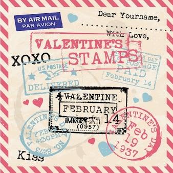 Colección de sellos de san valentin